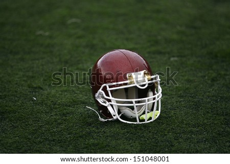 American Football Helmet on the Field