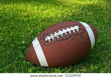 American football isolated laying in the summer grass - stock photo
