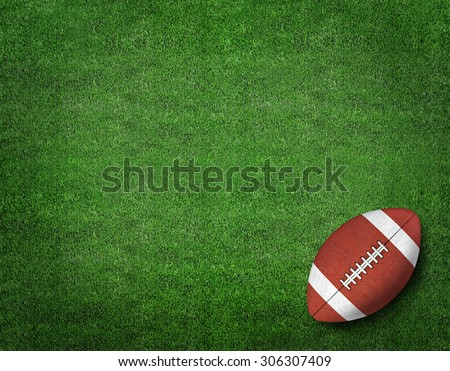 American Football on American Football Field - stock photo