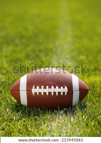 American Football on Field with yard line