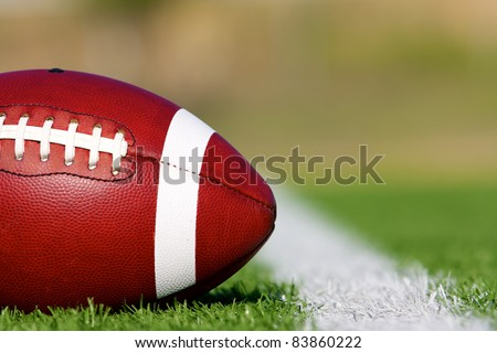 American Football on the Field near First Down - stock photo