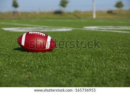 American Football on the Field near the Fifty with room for copy - stock photo