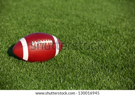 American Football on the Turf with room for copy - stock photo