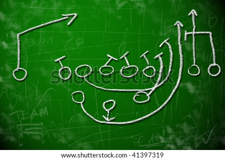 American football playbook diagram on chalkboard shows strategic planning concept. - stock photo
