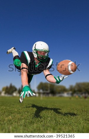 American football player diving and catching the ball - stock photo