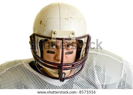 American football player. Headshot through facemask. - stock photo
