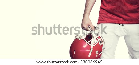 American football player holding a helmet against white background with vignette