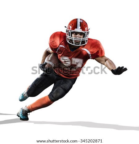 American football player in action isolated on the white - stock photo