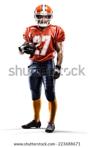 American football player in action isolated on white - stock photo