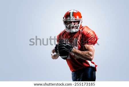 American football player in action white on isolated - stock photo