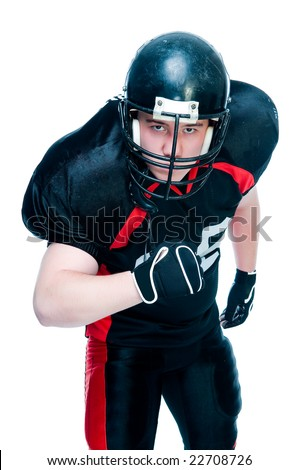 American football player in helmet, studio isolated - stock photo