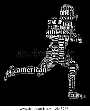 American football player info-text graphic and arrangement concept on black background (word cloud) - stock photo
