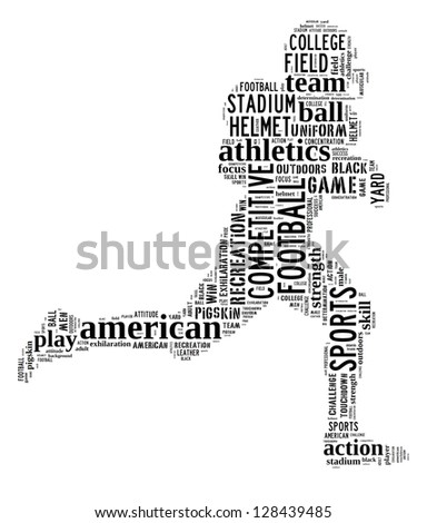 American football player info-text graphic and arrangement concept on white background (word cloud) - stock photo