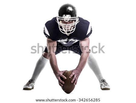 American football player  isolated on white background. - stock photo