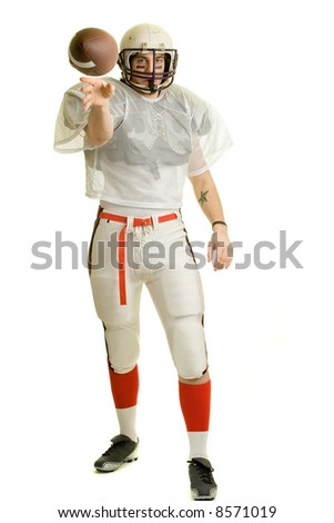 American football player. Passing the ball.
