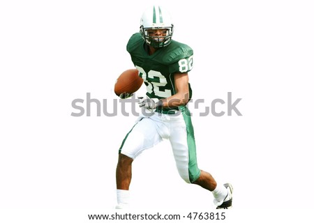 American football player running with ball, isolated. - stock photo