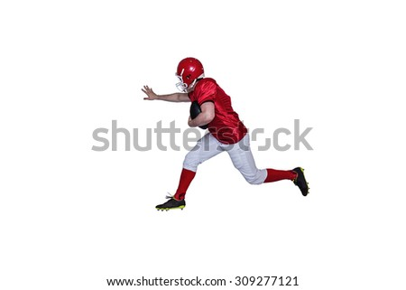 American football player running with the ball on a white background