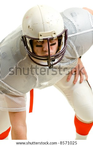 American football player. Three point stance. - stock photo