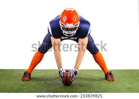 American Football Player With A Ball - stock photo