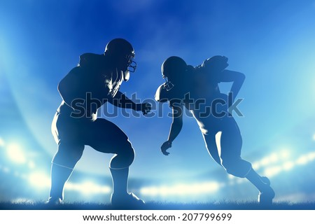 American football players in game, quarterback running. Night stadium lights - stock photo