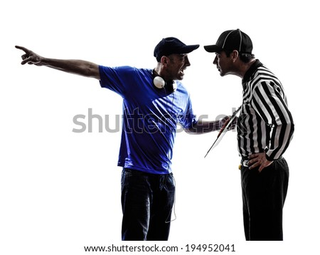 american football referee and coach conflict dispute conflict dispute in silhouette on white background - stock photo