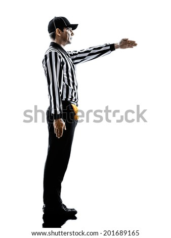 american football referee gestures first down in silhouette on white background - stock photo