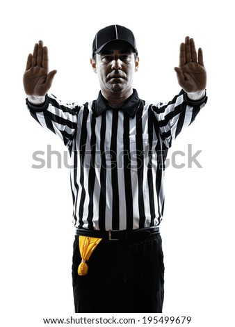 american football referee gestures in silhouette on white background - stock photo