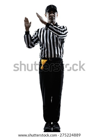 american football referee gestures intentional grounding in silhouette on white background - stock photo