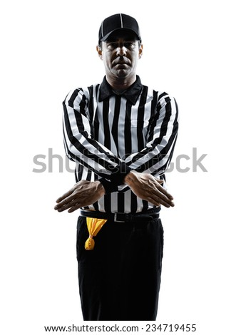 american football referee gestures penalty refused in silhouette on white background - stock photo