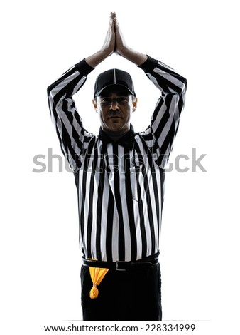 american football referee gestures safety in silhouette on white background - stock photo