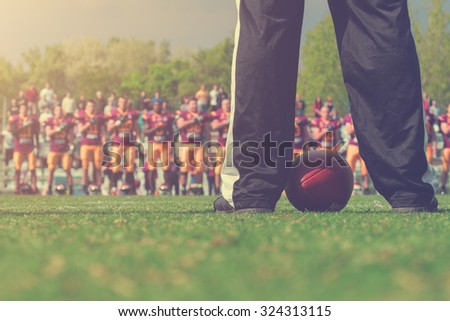 American football referee - seconds before the game starts. - stock photo