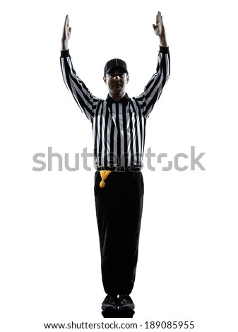 american football referee touchdown gestures in silhouettes on white background - stock photo
