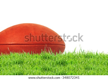 American football (rugby ball) on green grass over white, close up - stock photo