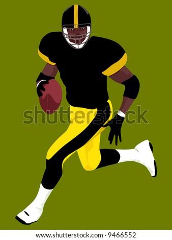 American Football runing man (wallpaper, background, logo...) - stock photo