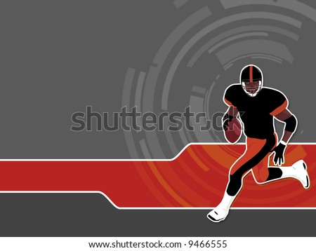 American Football runing man (wallpaper, background, logo...) - stock photo