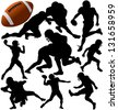 American football silhouettes. Raster version. - stock vector