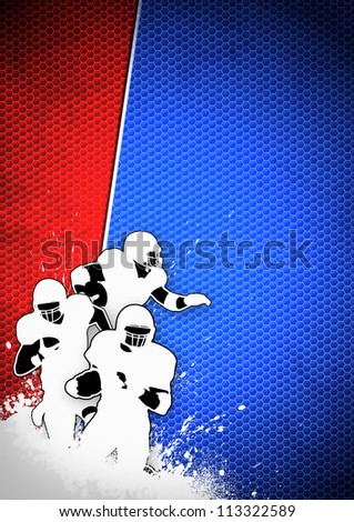 American football sport poster: running man and ball grunge background with space - stock photo