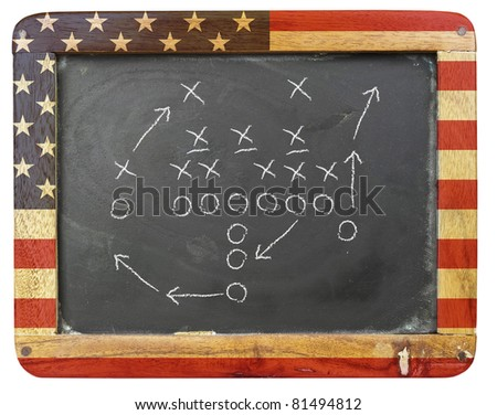 american football tactic scheme an a black board - stock photo