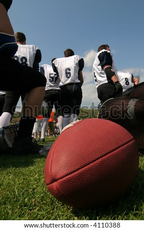 American football team with red eggball - stock photo