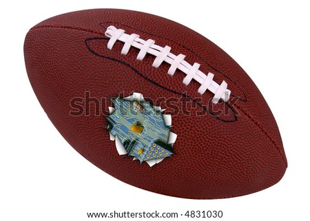 American football torn open to show logicboard inside isolated over a white background