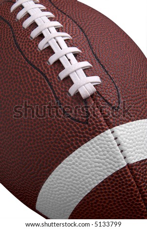 American football up close detail showing laces and stitching over white - stock photo