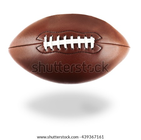 American football with shadow, isolated on white background - stock photo