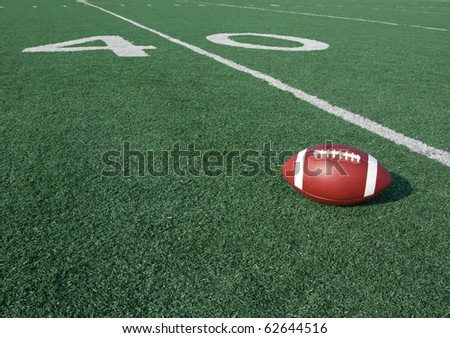 American Football with the Forty Yard Line Beyond