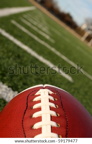 American Football with the hashmarks or yard lines beyond angled