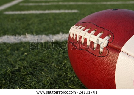 American football with yardlines - stock photo