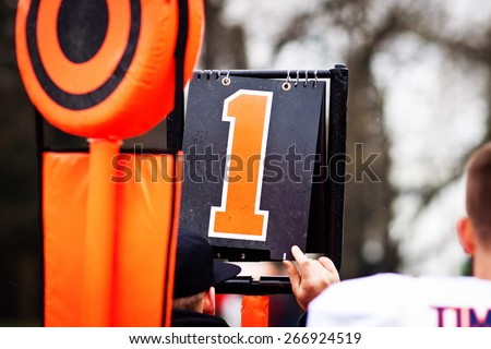 American football yard markers - stock photo