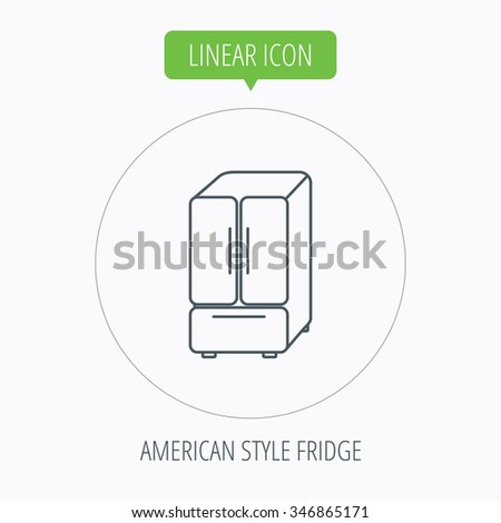 American fridge icon. Refrigerator sign. Linear outline circle button.  - stock photo