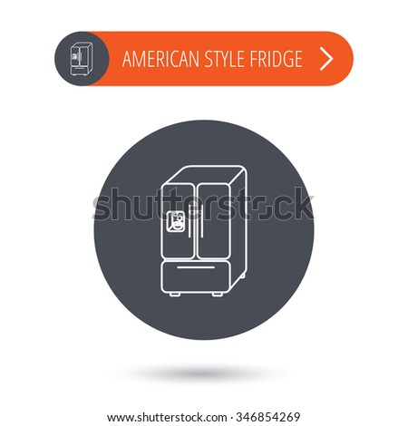 American fridge icon. Refrigerator with ice sign. Gray flat circle button. Orange button with arrow.  - stock photo