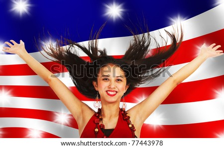 American Girl With Arms And Hair In The Air - stock photo