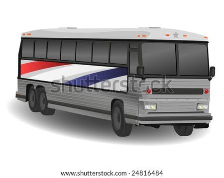 American Greyhound Bus Illustration on White - stock photo